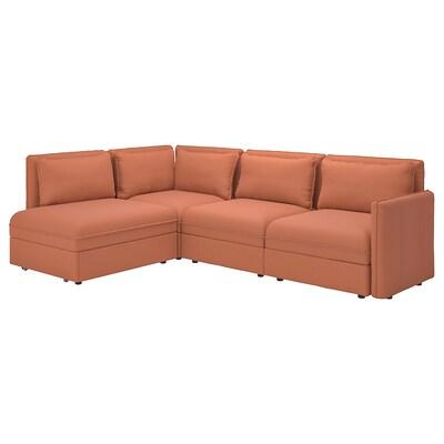VALLENTUNA Modular corner sofa 3-seat+sofa-bed, and storage/Kelinge rust