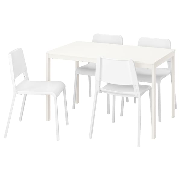 VANGSTA / TEODORES Table and 4 chairs, white/white, 120/180 cm