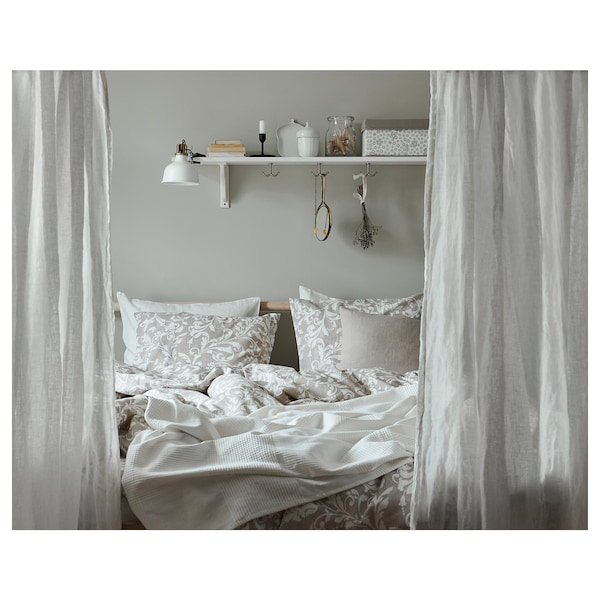 VÅRBRÄCKA غطاء لحاف و ٢ غطاء مخدة, بيج/أبيض, 240x220/50x80 سم