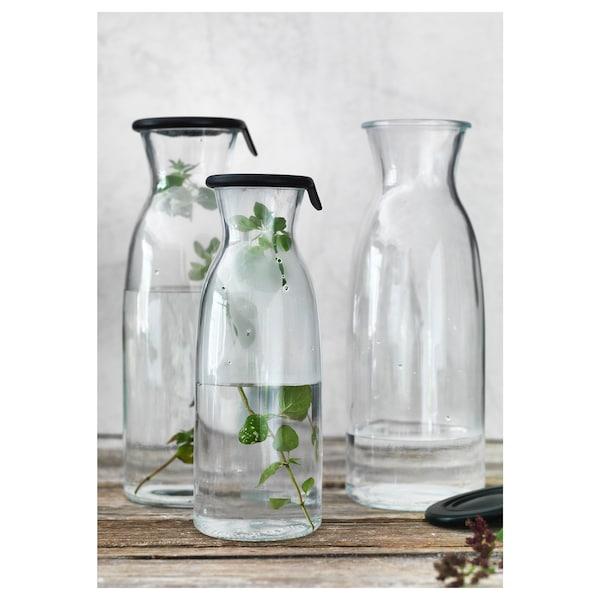 VARDAGEN Carafe with lid, clear glass, 0.5 l