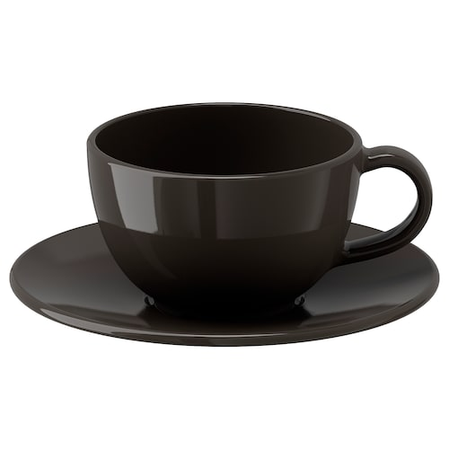 VARDAGEN coffee cup and saucer dark grey 14 cm 6 cm 6 cm 14 cl