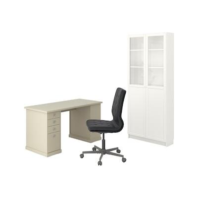 VEBJÖRN/MULLFJÄLLET / BILLY/OXBERG Desk and storage combination, and swivel chair beige/grey/white