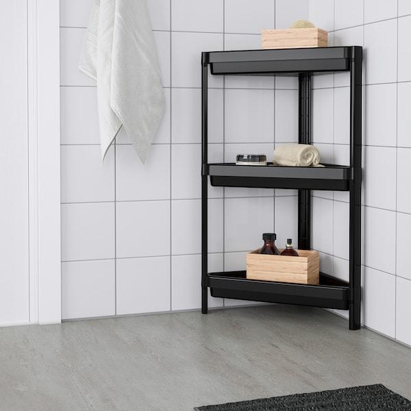 vesken corner shelf unit  black  ikea