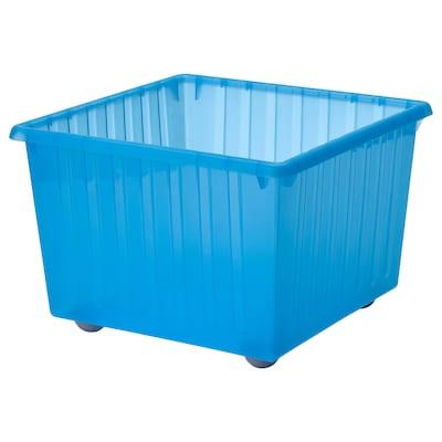 VESSLA Storage crate with castors, blue, 39x39 cm