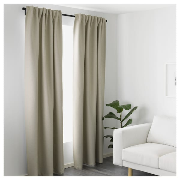 VILBORG Room darkening curtains, 1 pair, beige, 145x300 cm