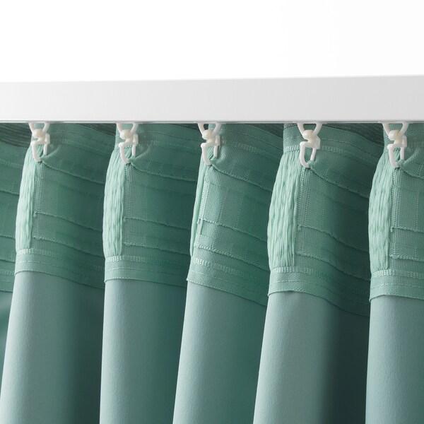 VILBORG Room darkening curtains, 1 pair, green, 145x300 cm