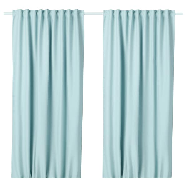 VILBORG Room darkening curtains, 1 pair, white/turquoise, 145x300 cm