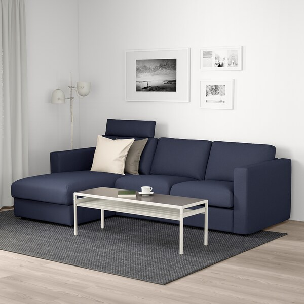 VIMLE 3-seat sofa, with chaise longue with headrest/Orrsta black-blue
