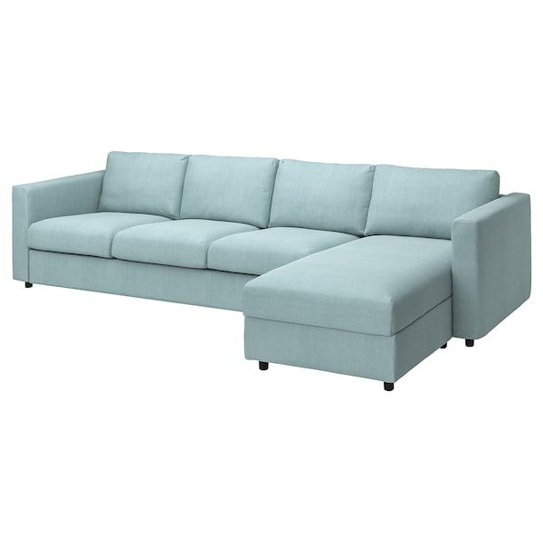 VIMLE Cover 4-seat sofa w chaise longue, Saxemara light blue