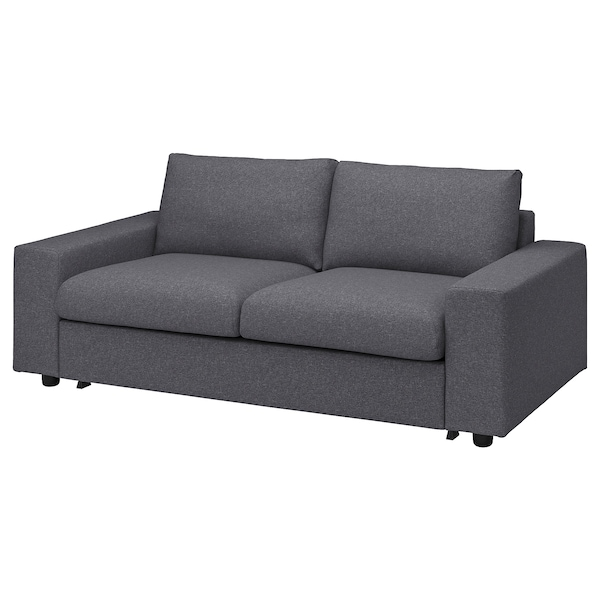 VIMLE Cover for 2-seat sofa-bed, with wide armrests/Gunnared medium grey