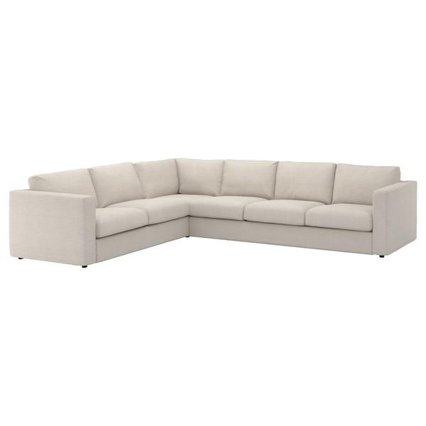 VIMLE Cover for corner sofa, 5-seat, Gunnared beige