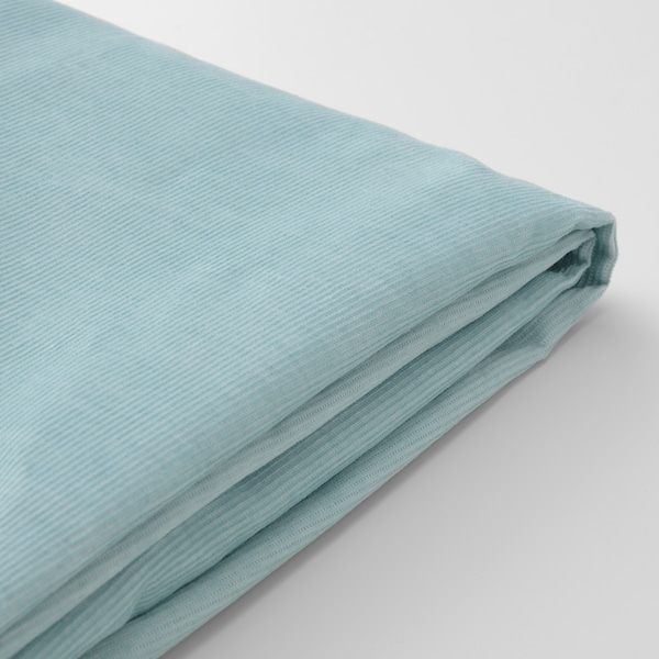 VIMLE Cover for footstool with storage, Saxemara light blue