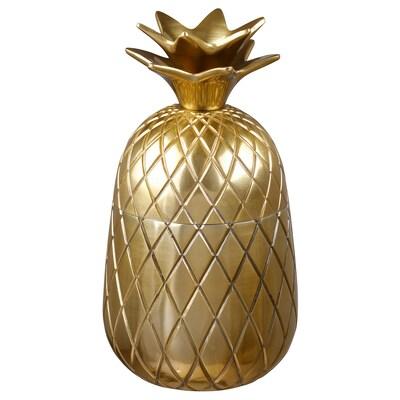 VINDFLÄKT Bowl with lid, Pineapple/gold-colour, 9 cm