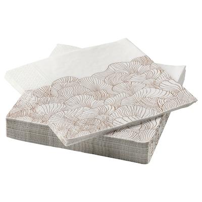 VINTERSNÖ Paper napkin, patterned/beige, 33x33 cm