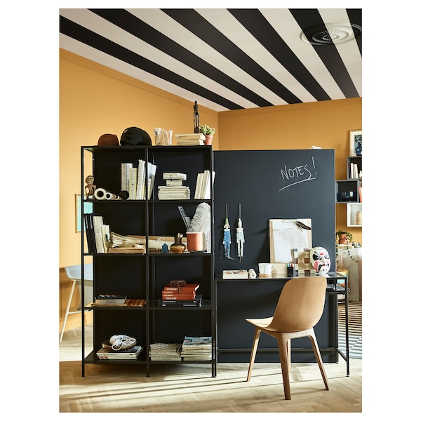 VITTSJÖ Shelving unit with laptop table, black-brown/glass, 200x36x175 cm