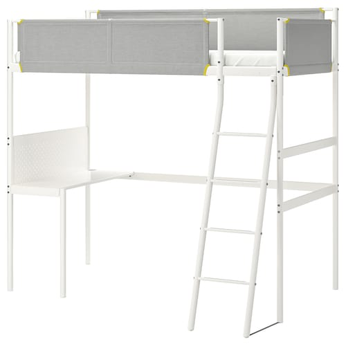 VITVAL loft bed frame with desk top white/light grey 45 cm 135 cm 207 cm 97 cm 95 cm 73 cm 195 cm 150 cm 100 kg 200 cm 90 cm 13 cm