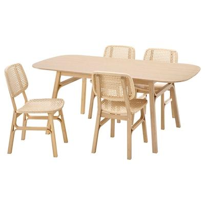 VOXLÖV / VOXLÖV طاولة و4 كراسي, خيزران/خيزران, 180x90 سم