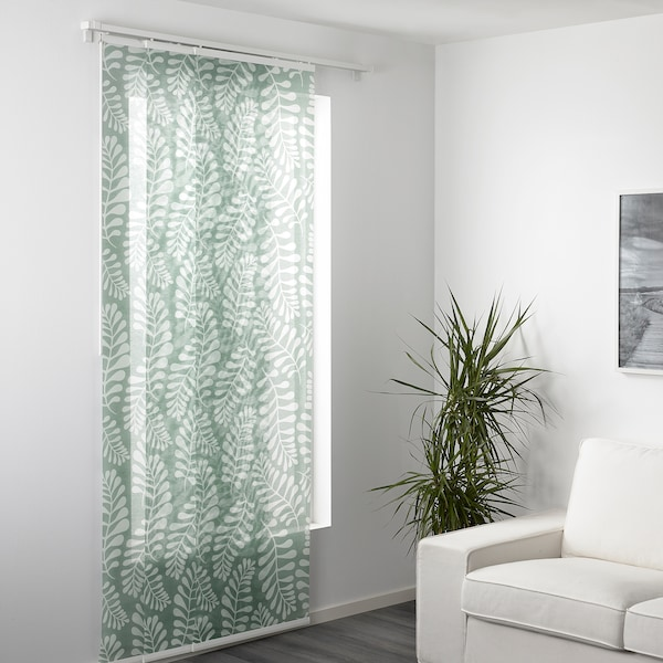 YRLA Panel curtain, green/white, 60x300 cm