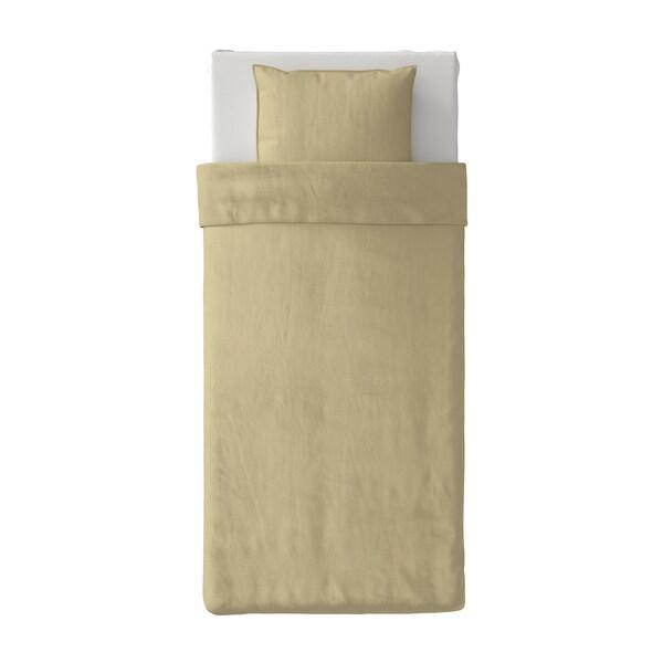 ÄNGSLILJA Påslakan 1 örngott, ljust beigegrön, 150x200/50x60 cm