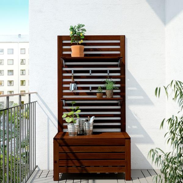 ÄPPLARÖ Bänk m panel+ hyllplan, utomhus, brunlaserad, 80x44x158 cm