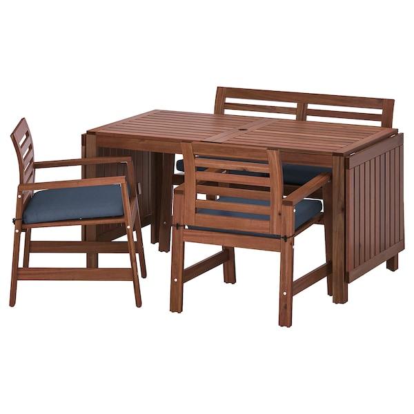 ÄPPLARÖ Bord+2 karmstolar+ bänk, utomhus, brunlaserad/Frösön/Duvholmen blå