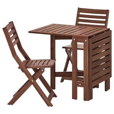 ÄPPLARÖ Bord+2 klappstolar, utomhus, brunlaserad