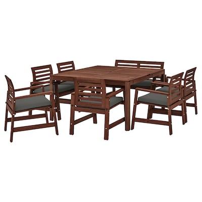 ÄPPLARÖ Bord+6 karmstolar+bänk, utomhus, brunlaserad/Frösön/Duvholmen mörkgrå