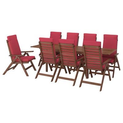 ÄPPLARÖ Bord+8 positionsstolar, utomhus, brunlaserad/Frösön/Duvholmen röd