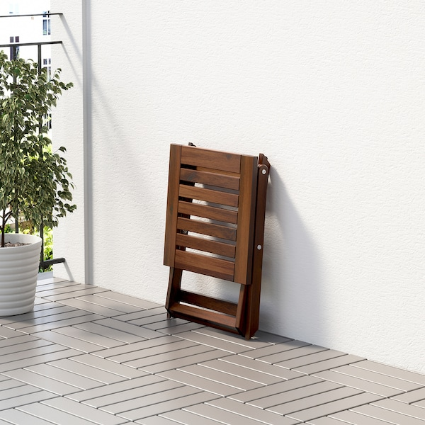 ÄPPLARÖ Pall, utomhus, hopfällbar brunlaserad