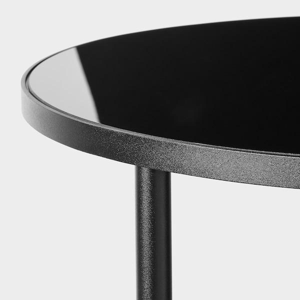ÄSPERÖD Sidobord, svart/glas svart, 45 cm