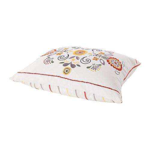 ÅKERKULLA Kudde , vit, flerfärgad Längd: 50 cm Bredd: 60 cm Fyllnadsvikt: 850 g Totalvikt: 935 g