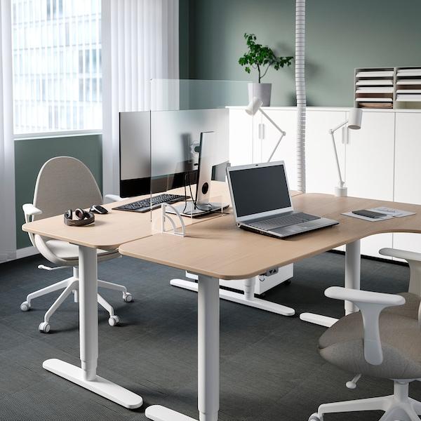 ANFALLSZON Avskärmning för skrivbord, transparent/vit, 75x65 cm