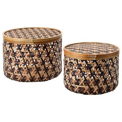 ANILINARE Förvaringslåda med lock, set om 2, bambu svart/brun