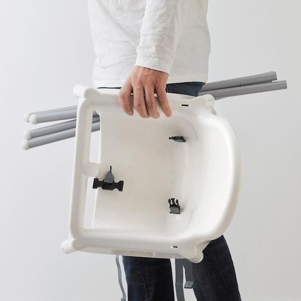 ANTILOP Barnstol hög med bricka, vit/silverfärgad