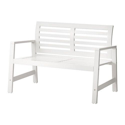 bänk ikea vit ~ ÄpplarÖ bänk med ryggstöd, utomhus  vit,  ikea