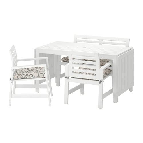 bänk utomhus ~ ÄpplarÖ bord+2 karmstolar+ bänk, utomhus  Äpplarö vit