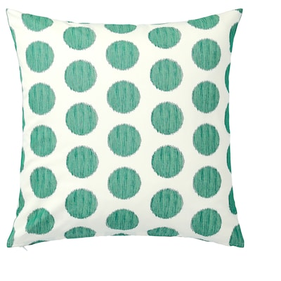 ÅSATILDA Kuddfodral, natur mörkgrön/prickar, 50x50 cm