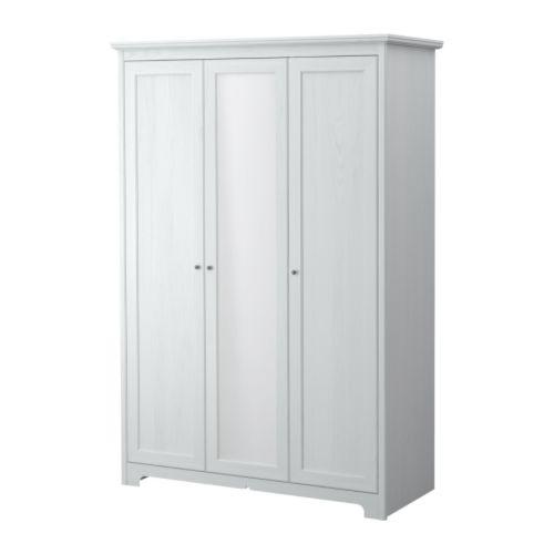 ASPELUND Klädskåp med 3 dörrar, vit Bredd: 130 cm Djup: 54 cm Höjd: 190 cm