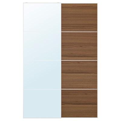 AULI / MEHAMN Skjutdörrpar, spegelglas/brunlaserat askmönster, 150x236 cm