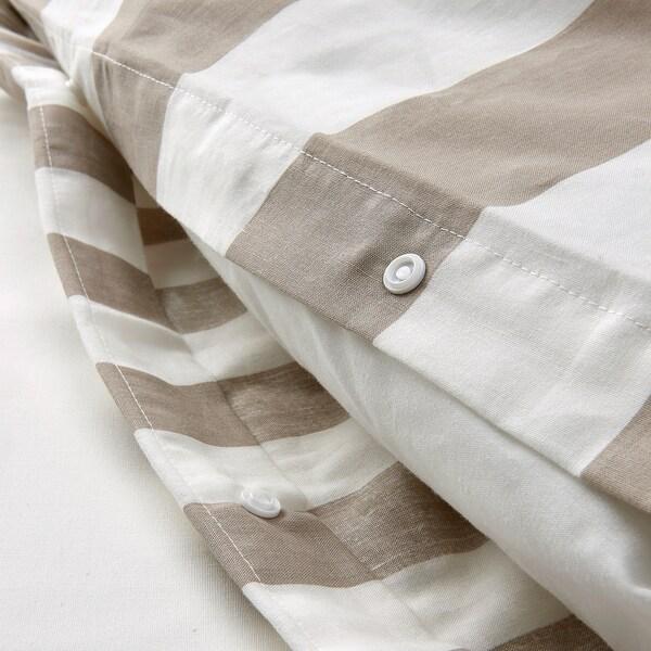 BÄRALM Påslakan 2 örngott, vit beige/rand, 240x220/50x60 cm