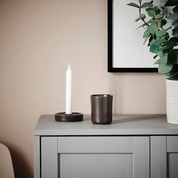 BEHJÄRTAD Doftljus i kruka, keramik/Brasa mörkbrun, 10 cm