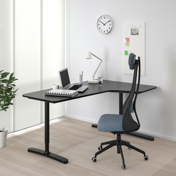 BEKANT Hörnskrivbord höger, svartbetsad askfaner/svart, 160x110 cm