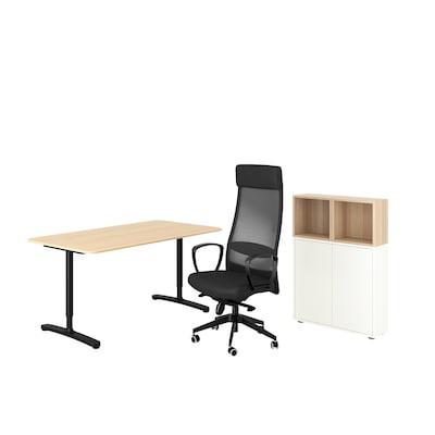 BEKANT/MARKUS / EKET Skrivbords-/förvaringskombination, och skrivbordsstol vit/vitbets mörkgrå