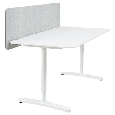 BEKANT Skrivbord med avskärmning, vit/grå, 160x80 48 cm