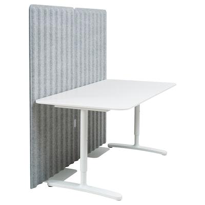 BEKANT Skrivbord med avskärmning, vit/grå, 160x80 150 cm