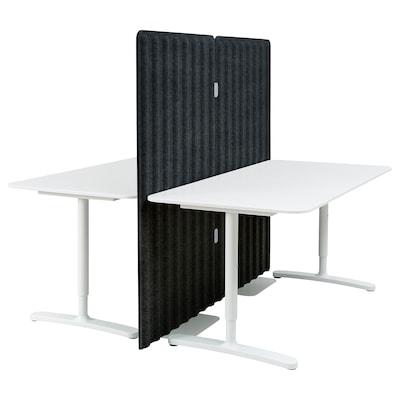BEKANT Skrivbord med avskärmning, vit/mörkgrå, 160x160 150 cm