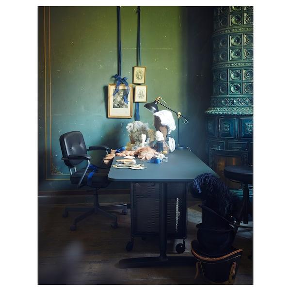BEKANT Skrivbord sitt/stå, linoleum blå/svart, 160x80 cm