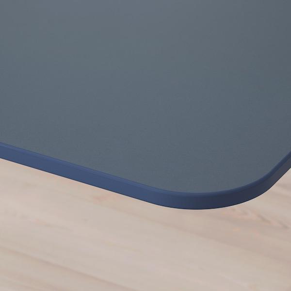 BEKANT Skrivbord sitt/stå, linoleum blå/vit, 160x80 cm