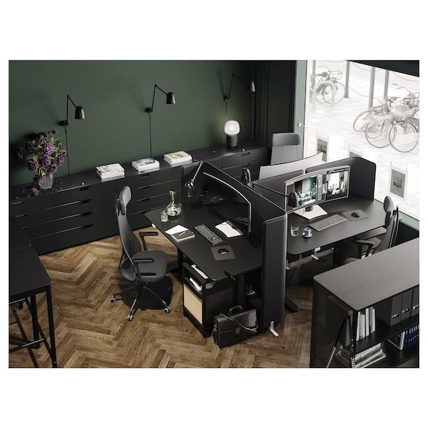 BEKANT Skrivbord sitt/stå, svartbetsad askfaner/svart, 160x80 cm