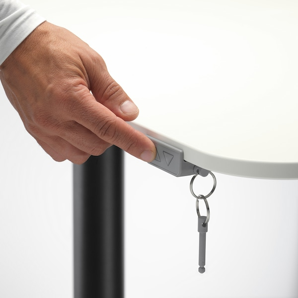 BEKANT Skrivbord sitt/stå, vit/svart, 160x80 cm